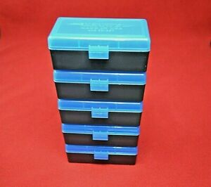 38  357 (5 pack) PLASTIC STORAGE AMMO BOXES (BLUE COLOR ) BERRY'S MFG. 38357