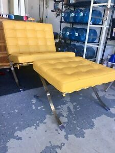 Mid Century Modern Barcelona Lounge Chair And Ottoman In Yellow