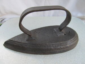 Rare Antique Primitive Clothes Iron Coal Wooden Handle Very Old Heavy 18centuury