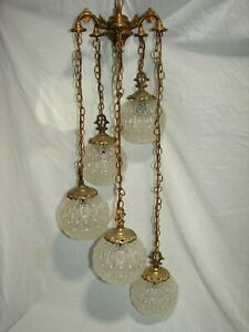 Vintage Swag Hanging Pendant Light Regency Chandelier Fixture