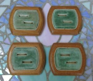 Set Of 4 Vintage Seafoam Green Velvet Ring Presentation Display Case Box