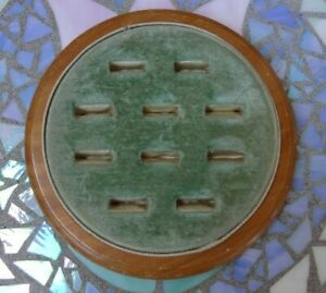 Vintage Seafoam Green Velvet Multi Ring Presentation Display Case Tray 10 Slots