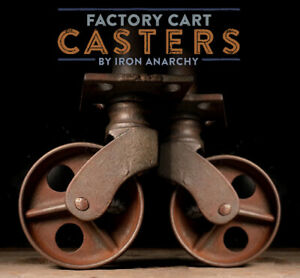 Atq Factory Cart Casters Cast Iron Metal Stem Vtg Industrial Table End Wheel