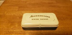 Vintage Sewing Machine Accessaries Tin With Accessaries