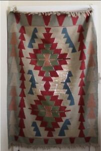 Vintage Woven Nuetral Kilim Small Area Rug Bohemian Tribal