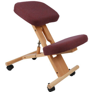 Ergonomic Wooden Kneeling Chair Padded Seat Adjustable Height Knee Rest Stool
