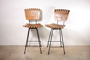 Pair Of Arthur Umanoff Bar Stools Wood Slat And Iron Swivel Chair