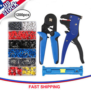 6 4 Ferrule Crimper Plier Tool Kit Wire Stripper 1200 Terminal Wire Connectors
