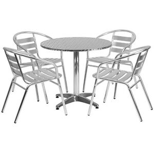 31 5 Round Aluminum Indoor outdoor Restaurant Table With 4 Slat Back Chairs