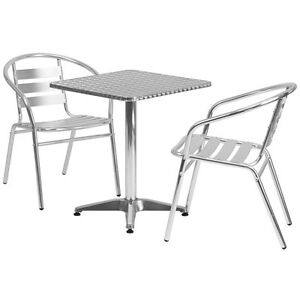 23 5 Square Aluminum Indoor outdoor Table With 2 Slat Back Chairs