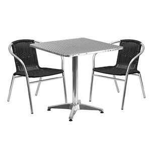 27 5 square Aluminum Indoor outdoor Restaurant Table With 2 Black Rattan Chairs
