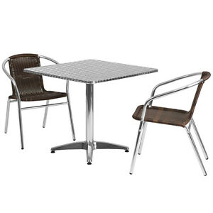 31 5 square Aluminum Indoor outdoor Restaurant Table With 2 Brown Rattan Chairs