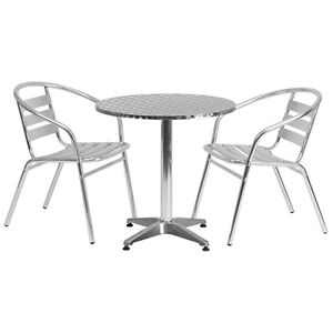 27 5 Round Aluminum Indoor outdoor Restaurant Table With 2 Slat Back Chairs