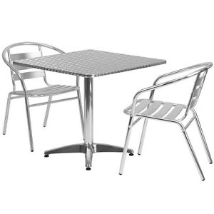 31 5 Square Aluminum Indoor outdoor Restaurant Table With 2 Slat Back Chairs