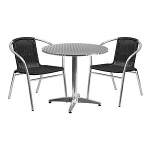 31 5 round Aluminum Indoor outdoor Restaurant Table With 2 Black Rattan Chairs