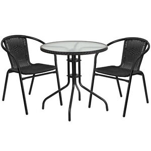 28 Round Indoor outdoor Restaurant Table Set With 2 Black Rattan Chairs