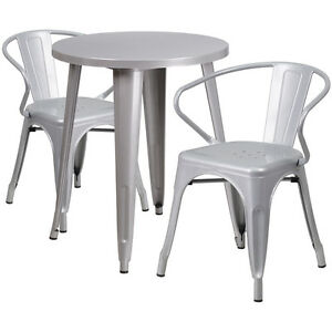 24 Round Silver Metal Indoor outdoor Restaurant Table Set With 2 Arm Chairs