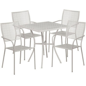28 Square Light Gray Indoor outdoor Patio Restaurant Table Set W 4 Chairs