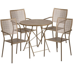30 Round Gold Indoor outdoor Folding Patio Restaurant Table Set W 4 Chairs