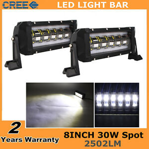 2x 8inch 30w Cree Flashing Led Work Light Bar Spot Off Road Tractor Atv 4wd Suv