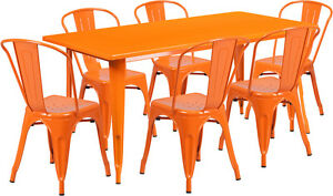 31 5 X 63 Industrial Orange Metal Outdoor Restaurant Table Set With 6 Chairs