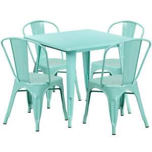 31 5 Industrial Mint Green Metal Outdoor Restaurant Table Set W 4 Chairs