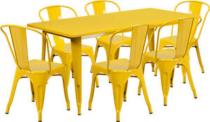 31 5 X 63 Industrial Yellow Metal Outdoor Restaurant Table Set With 6 Chairs