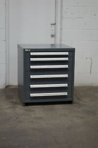 Used Stanley Vidmar 6 Drawer Cabinet 33 High Industrial Bench Storage 1791