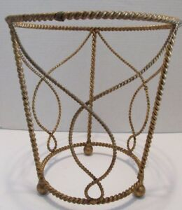 Florentine Waste Trash Can S Gold Gilt Rope Twist Hollywood Regency Italy Tags