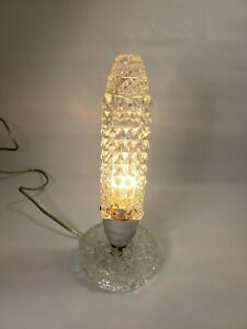 Vintage Torpedo Art Deco Crystal Glass Bullet Skyscraper Boudoir Lamp Beautiful