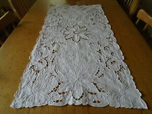 Vintage Hand Embroidered Irish Linen Table Runner Cut Work Stunning
