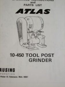 Atlas Lathe No 10 450 Tool Post Grinder Parts List Assenbly