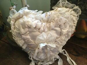 Antique Vtg Heart Shape Bridal Wedding Pillow Ruched Satin With Lace Ivory Color