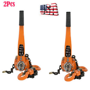 2pcs 1 5 Ton 3000lb Capacity Lever Block Chain Hoist Lift Come Along Ratchet Lif
