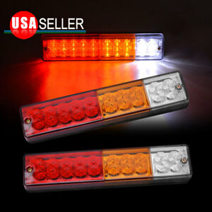 2x Led Trailer Light Red yellow white Car Running Turn Signal Brake Reverse Lamp