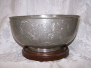 Rare 18th 19th Antique Chinese Engraved Paktong Pewter Seal Mark Large Bowl