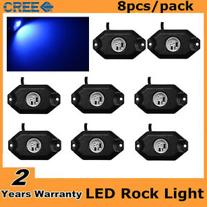 8x Blue 9w Led Rock Rig Light Fits 2 Jeep Offroad Truck Boat Under Body Trail