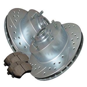Double Cross drilled Slotted Zinc Coated Premium Rotors W ceramic Pads Atl018477