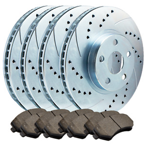 f r Fits Mustang Cobra Dbl Drilled slotted Brake Rotors Ceramic Pad Atl050587