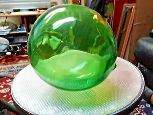 Vintage Apple Green Glass 6 Fishing Float Buoy Hand Blown Excellent