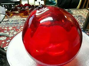Vintage Ruby Red Art Glass 6 Fishing Float Buoy Hand Blown Excellent