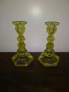 Boston Sandwich Glass Candlesticks Canary Yellow C 19th Century