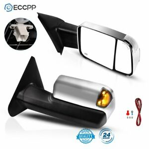 Towing Mirrors For 02 08 Dodge Ram 1500 2500 3500 Power Heated Turn Led Signals