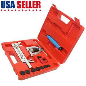 Double Flaring Brake Line Tool Kit Tubing Car Truck Tool W Mini Pipe Cutter 45