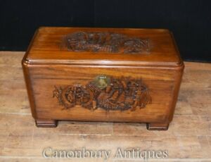 Antique Chinese Camphor Chest Hand Carved Trunk Circa 1920