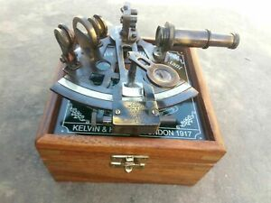 New Vintage Antique Brass Victorian Nautical German Sextant With Case Box