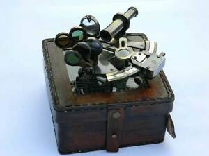 New German Sextant Antique Leather Kelvin N Hughes Sextant Nautical Case Box