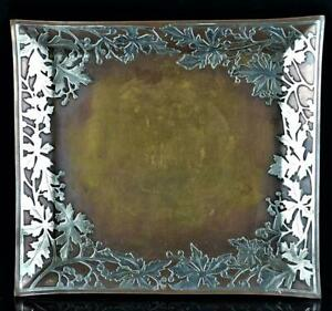 Arts Crafts Mixed Metal Silver On Copper Tray