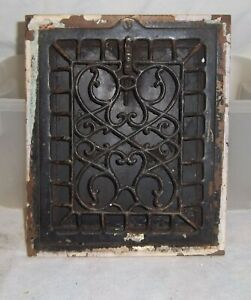 Antique Ornate Victorian Metal Floor Grate W Working Louvers 12 By 10 Nice