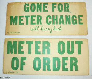 2 Vintage Parking Meter Signs 1965 Automobile Safety Window Insert Cards